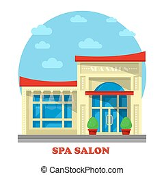 Spa or beauty salon or parlor, parlour building. Construction for massage and peeling, pedicure or chiropody, manicure and face cleaning, body waxing for women. Outdoor exterior view