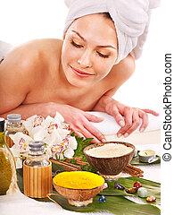 spa, outdoor., femme, traitement, obtenir