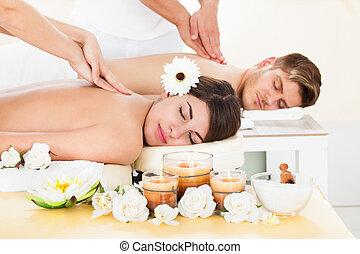 spa, paar, krijgen, masseren