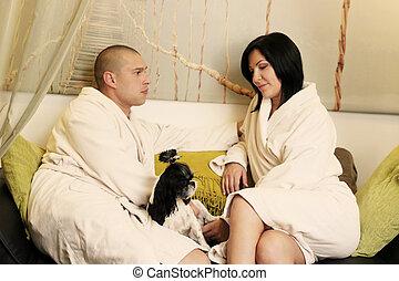 spa, par, salão