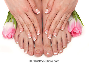 Spa - Pedicured feet, manicured hands and aromatic flowers...