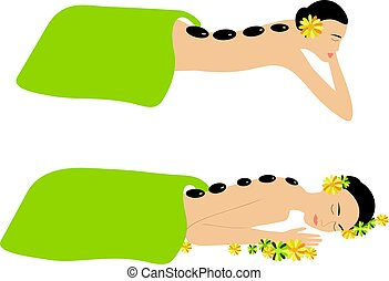 spa, pedra, mulher, massagem