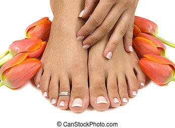 Spa - Elegant tulips manicured hand and pedicured feet
