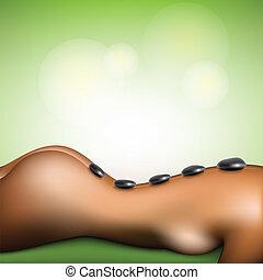 spa, pierre, femme, masage