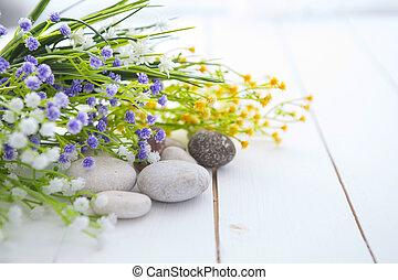 spa, pierres, blanc, table bois