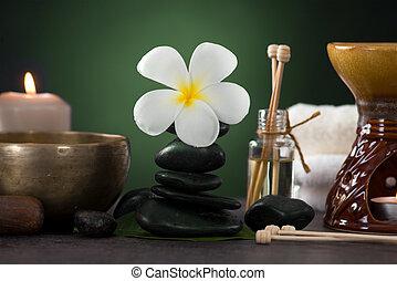 spa, pierres, coup, frangipanier, arôme, exotique, lumières, chaud, thérapie, traitement, ambiant, santé
