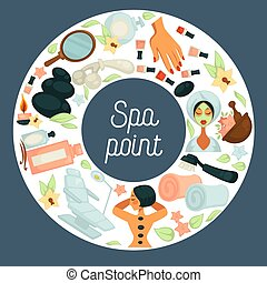 Spa point commercial banner with skincare and beauty tools