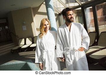 spa, portrait, couple, centre, séduisant