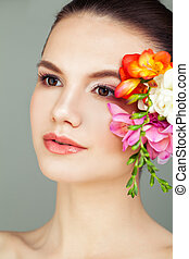 Spa Portrait of Young Woman with Healthy Skin, Skincare and Facial Treatment Concept