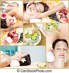 Spa procedures - Collage of young females lying in beauty ...