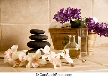 day spa products like lastone stones, flowers and oil