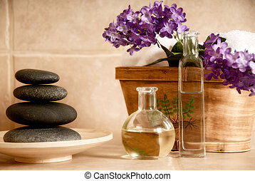 Spa products - day spa products with stones, oil container, ...