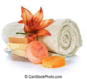 spa, products., met de hand gemaakt, zeep