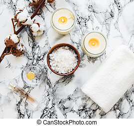 Spa products with cotton flowers