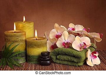 spa, produkte, mit, grün, kerzen