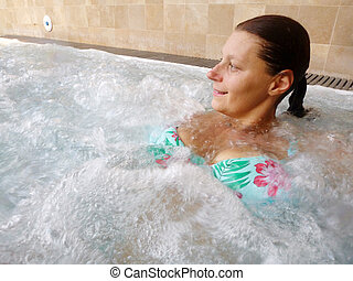 spa, relaxado, mulher, beleza, hydromassage