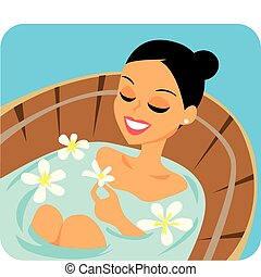 Image of woman in aromatherapy bath at the spa.