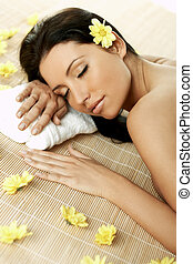 Spa Relaxing - Portrait of Fresh and Beautiful brunette ...