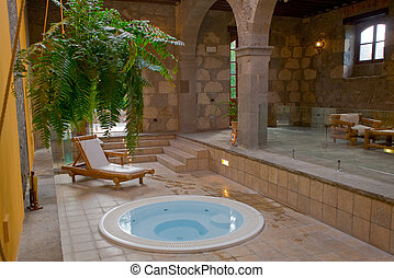 relax room with jacuzzi on a old village