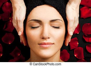 spa, rosto, massagem