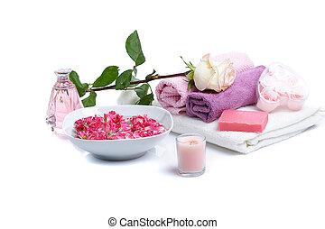 spa, rozenblaadjes