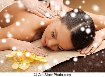 spa, salão, mulher, massagem, obtendo