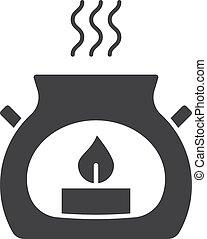 Spa salon aroma candle glyph icon