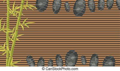 Spa salon banner template. Bamboo and pebble rocks.