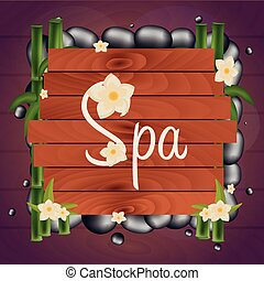 Spa salon banner with stones. Thai Massage. Wooden frame. Vector illustration.