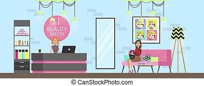 spa, salon, beauté, réception