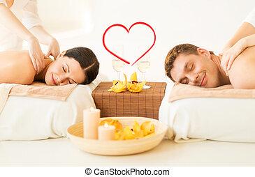 spa, salon, couple, masage, obtenir