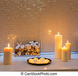 Candle decoration towel spa salon. Candle decoration spa salon towel ...
