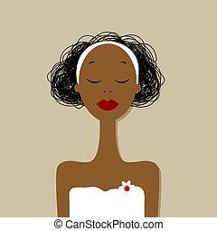 spa, salon, frau, hübsch, porträt