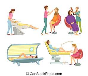 Spa Salon Hair Wash and Hairstyling Set Vector - Spa salon...