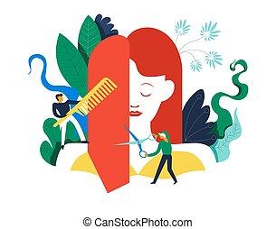 Spa salon, hairstyling process, changing of woman haircut...