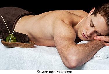 spa, salon, jeune, masage, homme