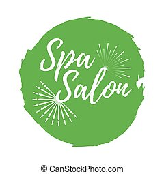 Spa Salon label. Eco style and Wellness Life. Healthy Lifestyle badges. Vector illustration icon with Sunburst