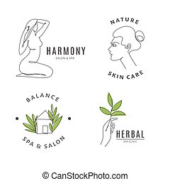 Spa salon logo templates with body and nature line art.