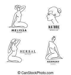 Spa salon logo templates with woman body line art.