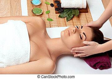 spa, salon, masage, apprécier, femme, jeune