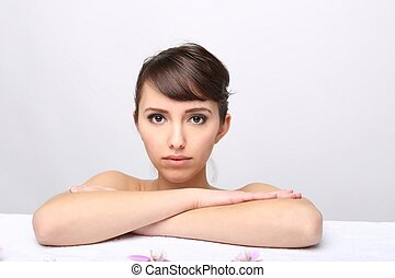 spa, salon., menina, mentindo, ligado, um, tabela massagem