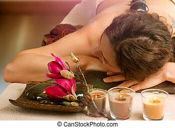 spa, salon., pedra, massage., dayspa
