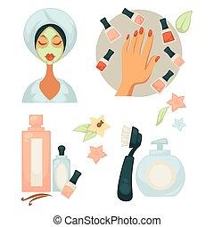 Spa salon service colorful vector poster on white