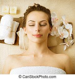 spa, salon, vrouw, beauty