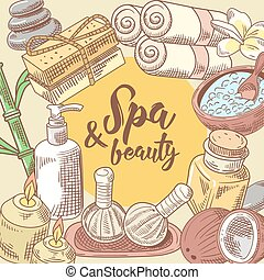 Spa Salon Wellness Beauty Hand Drawn Design. Aromatherapy Health Elements Set. Skin Treatment. Vector illustration