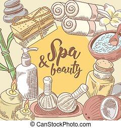 Spa Salon Wellness Beauty Hand Drawn Design. Aromatherapy Health Elements Set. Skin Treatment. Vector illustration