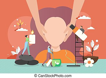Woman facial massage, vector flat illustration. Spa salon, beauty parlour professional staff giving relaxing, beauty anti ageing face massage. Facial treatment.