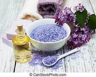 Spa salt and oil with lilac flowers
