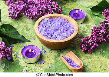 spa salt with lilac flowers