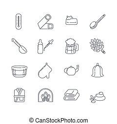 Spa, sauna linear icons. Washcloth, soap, ladle, aromatic...